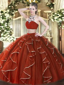 Sleeveless Tulle Floor Length Backless 15th Birthday Dress in Rust Red with Beading and Ruffles