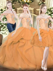Orange Red Sleeveless Ruffles Floor Length Sweet 16 Quinceanera Dress