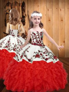 Red Straps Lace Up Embroidery and Ruffles Little Girls Pageant Dress Wholesale Sleeveless
