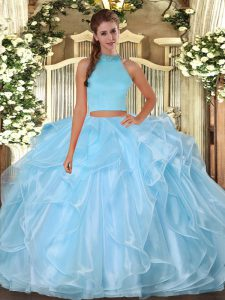Halter Top Sleeveless Organza Quinceanera Gown Beading and Ruffles Backless