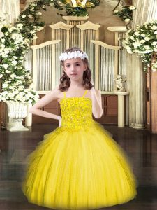Inexpensive Yellow Spaghetti Straps Neckline Beading and Ruffles Kids Pageant Dress Sleeveless Lace Up