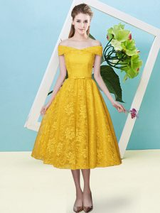 Cap Sleeves Tea Length Bowknot Lace Up Quinceanera Court of Honor Dress with Gold