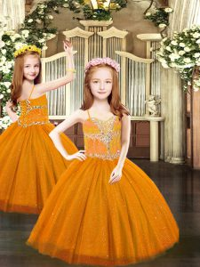 Floor Length Lace Up Little Girls Pageant Dress Rust Red for Party and Quinceanera with Beading