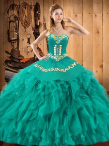 Turquoise Sweetheart Neckline Embroidery and Ruffles Quinceanera Dresses Sleeveless Lace Up