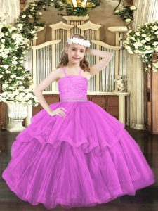 Lilac Straps Neckline Beading and Lace Pageant Dresses Sleeveless Zipper