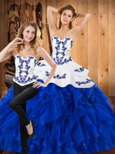 Two Pieces Quinceanera Gown Blue And White Strapless Satin and Organza Sleeveless Floor Length Lace Up
