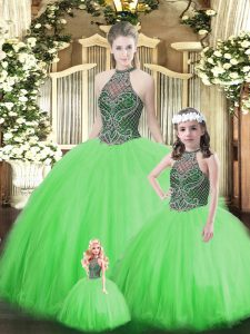 Super Green Sleeveless Tulle Lace Up Sweet 16 Quinceanera Dress for Military Ball and Sweet 16 and Quinceanera