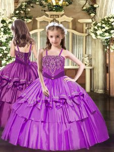 Custom Fit Lilac Lace Up Glitz Pageant Dress Beading and Ruffled Layers Sleeveless Floor Length