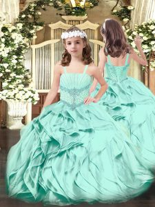 Adorable Apple Green Sleeveless Beading and Ruffles Floor Length Child Pageant Dress