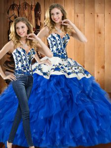 Fine Satin and Organza Sweetheart Sleeveless Lace Up Embroidery and Ruffles 15th Birthday Dress in Blue
