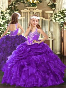 Lovely Organza V-neck Sleeveless Lace Up Beading and Ruffles and Pick Ups Little Girls Pageant Dress in Purple