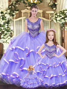 Customized Scoop Sleeveless Quinceanera Dresses Floor Length Beading and Ruffled Layers Lilac Tulle