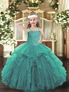Eye-catching Turquoise Straps Lace Up Beading and Ruffles Girls Pageant Dresses Sleeveless