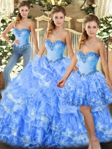 Simple Floor Length Light Blue Quince Ball Gowns Sweetheart Sleeveless Lace Up