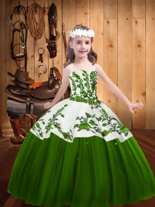 Graceful Floor Length Green Custom Made Pageant Dress Straps Sleeveless Lace Up