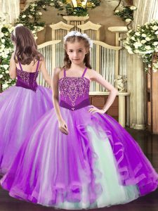 Lilac Lace Up Straps Beading Little Girl Pageant Gowns Tulle Sleeveless