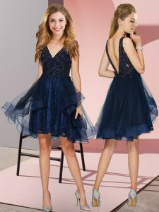 Navy Blue A-line Tulle V-neck Sleeveless Appliques and Ruffles Knee Length Backless Dama Dress for Quinceanera