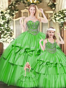 Graceful Floor Length Green 15th Birthday Dress Sweetheart Sleeveless Lace Up