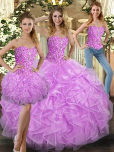 Stunning Sweetheart Sleeveless Quinceanera Dress Floor Length Beading and Ruffles Lilac Tulle