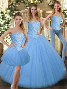Sumptuous Baby Blue Ball Gowns Sweetheart Sleeveless Tulle Floor Length Lace Up Beading Quince Ball Gowns