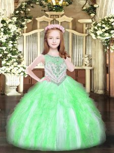 Sleeveless Floor Length Beading and Ruffles Zipper Little Girls Pageant Dress Wholesale with Apple Green