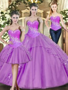 Sweetheart Sleeveless Quinceanera Dresses Floor Length Beading Lilac Tulle