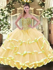 Attractive Gold Lace Up Sweetheart Beading and Ruffled Layers Quince Ball Gowns Organza Sleeveless