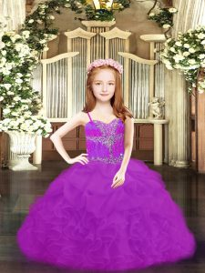 Floor Length Ball Gowns Sleeveless Fuchsia and Purple Little Girl Pageant Gowns Lace Up