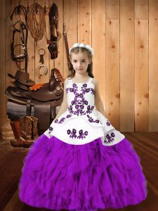 Eggplant Purple Pageant Dress for Teens Sweet 16 and Quinceanera and Wedding Party with Embroidery and Ruffles Straps Sleeveless Lace Up