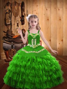 Straps Sleeveless Lace Up Little Girls Pageant Dress Wholesale Organza