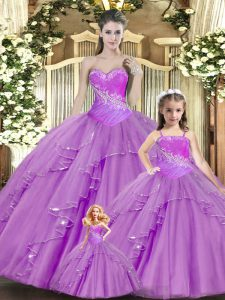Fashionable Lilac Ball Gowns Sweetheart Sleeveless Lace Floor Length Lace Up Beading and Ruching Vestidos de Quinceanera