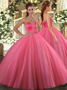 Luxury Sweetheart Sleeveless Tulle Quinceanera Dress Beading Lace Up