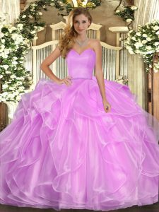 Ball Gowns 15 Quinceanera Dress Lilac Sweetheart Organza Sleeveless Floor Length Lace Up