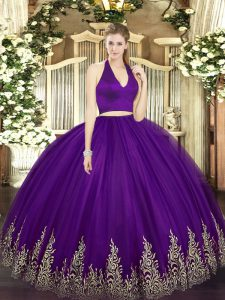 Floor Length Zipper 15th Birthday Dress Dark Purple for Military Ball and Sweet 16 and Quinceanera with Appliques