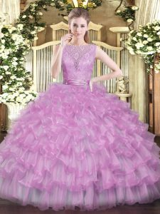 Sleeveless Beading and Ruffled Layers Backless Ball Gown Prom Dress