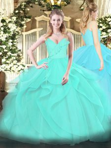 Romantic Aqua Blue Tulle Zipper Quince Ball Gowns Sleeveless Floor Length Ruffles