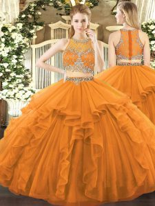 Smart Tulle Scoop Sleeveless Zipper Beading and Ruffles Quince Ball Gowns in Orange