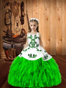 Lace Up Little Girl Pageant Gowns Embroidery and Ruffles Sleeveless Floor Length