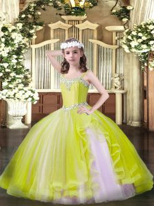 Yellow Straps Neckline Beading Pageant Dress for Girls Sleeveless Lace Up