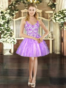 Adorable Lilac Prom Dress Prom and Party with Beading and Ruffles Straps Sleeveless Lace Up