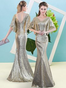 Designer Half Sleeves Sequined Floor Length Zipper Prom Dresses in Silver with Sequins