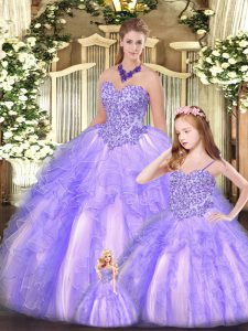 Latest Lavender Ball Gowns Beading and Ruffles 15 Quinceanera Dress Lace Up Organza Sleeveless Floor Length