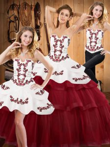 Tulle Sleeveless Sweet 16 Dress Sweep Train and Embroidery and Ruffled Layers