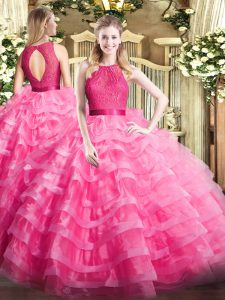 Clearance Organza Sleeveless Floor Length Quinceanera Gowns and Ruffled Layers
