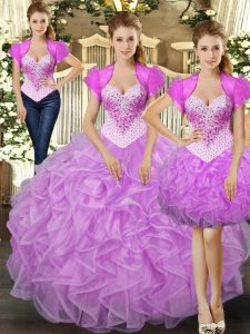 Attractive Sleeveless Floor Length Beading and Ruffles Lace Up Quinceanera Dresses with Lilac