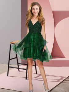 Suitable Dark Green Backless V-neck Appliques and Ruffles Damas Dress Tulle Sleeveless
