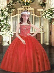 Fashion Sleeveless Tulle Floor Length Zipper Kids Formal Wear in Red with Beading