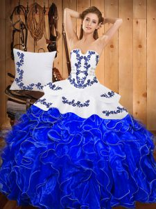 Hot Sale Sleeveless Embroidery and Ruffles Lace Up Quinceanera Dress