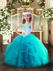 Hot Sale Aqua Blue Straps Neckline Beading and Ruffles Pageant Gowns Sleeveless Lace Up