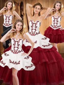 Sleeveless With Train Embroidery and Ruffled Layers Lace Up Quinceanera Dresses with Burgundy